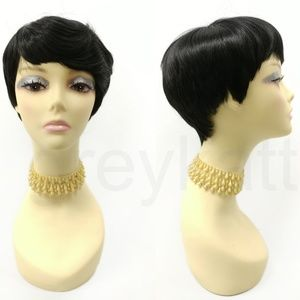 Black Tapered Short Pixie Heat Resistant Wig
